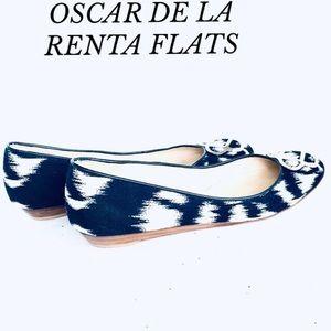 OSCAR DE LA RENTA NAVY BLUE/WHITE FLATS